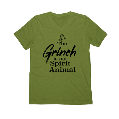 The Grinch is my Spirit Animal | Christmas Shirts | Grinch Green | V Neck Graphic Tee
