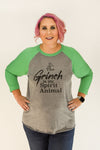 The Grinch Is My Spirit Animal | Green & Heather Grey Raglan