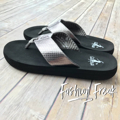 Corky's Royal Faux Leather Flip Flops | Fashion Freak LLC | Pewter