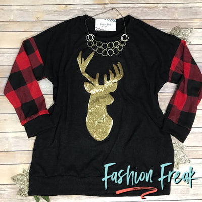 Oh Deer Buffalo Check Tunic