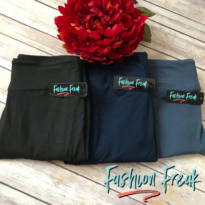 Fashion Freak Exclusive Leggings | Black, Navy, Charcoal Blue | Yoga Waistbands for ultimate comfort!