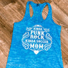 Summer Vibes turquoise teal tank top neon white print for Rebel moms, Punk moms, Kinda Punk Rock, Kinda Soccer moms stuck in midwest suburbia,