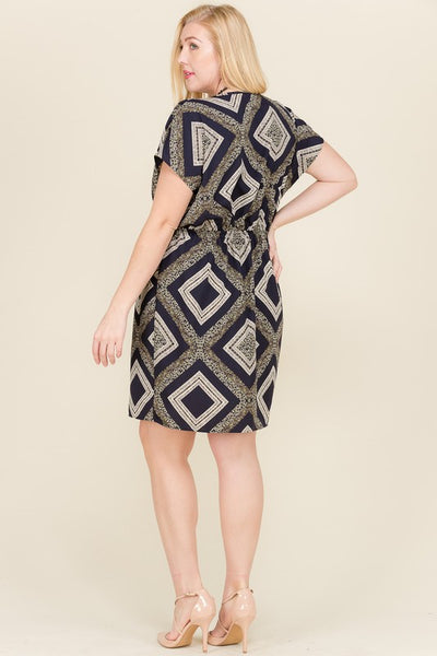 Navy & Green Geometric Bold Print Pocket Dress | Apple Valley, MN | Fashion Freak LLC