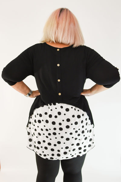 Back View Polka Dot Sneak Attack Tunic | Black | Plus Size | Apple Valley, MN