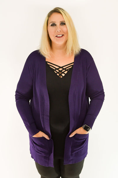 Open Front Cardigan with Pockets | Purple