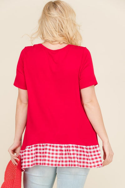 Red Gingham Short Sleeve Top | Apple Valley, MN | Fashion Freak LLC
