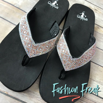 "Rose Gold Bling 2"" Wedge Flip Flops by Corky's 