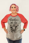 Santa's #1 Ho | Red & Grey Raglan Baseball Tee | Fashion Freak LLC | Apple Valley, MN