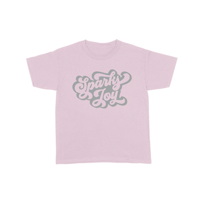 Sparks Joy | Pink Shirt Metallic Silver Print | Kids Shirt | Fashion Freak