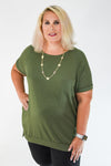 Short Sleeve Light Weight Sweatshirt Hi Lo Tunic with pockets S-3X in Olive | Fashion Freak LLC | Apple Valley, MN