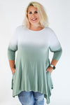 Curvy Off White to Sage Dip Dyed Handkerchief Tunic | Apple Valley, MN | Fashion Freak LLC