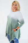 Curvy Off White to Sage Dip Dyed Handkerchief Tunic | Rosemount, MN | Fashion Freak LLC