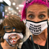 Shopping at The Costco in Scaredy Cat Hotdog eating Mask | Rebel Mom Weirdos Punk Moms united Midwest USA