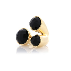 Gold Ring with Three Black Stones | Faceted