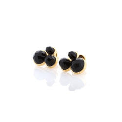 Three Stone Earrings | Obsidian