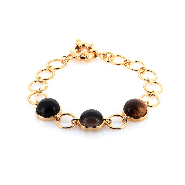 Multi Gemstone Bracelet | Tigers Eye, Smoky Quartz, Obsidian