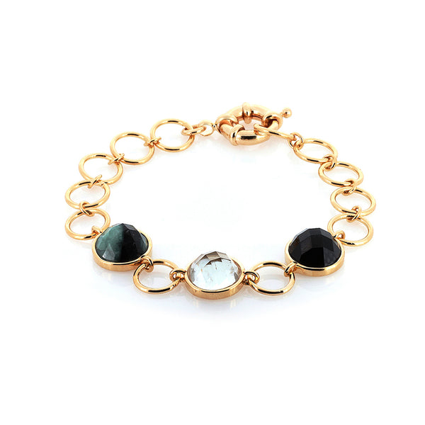 Multi Gemstone Bracelet | Raw Emerald, Obsidian, Green Amethyst
