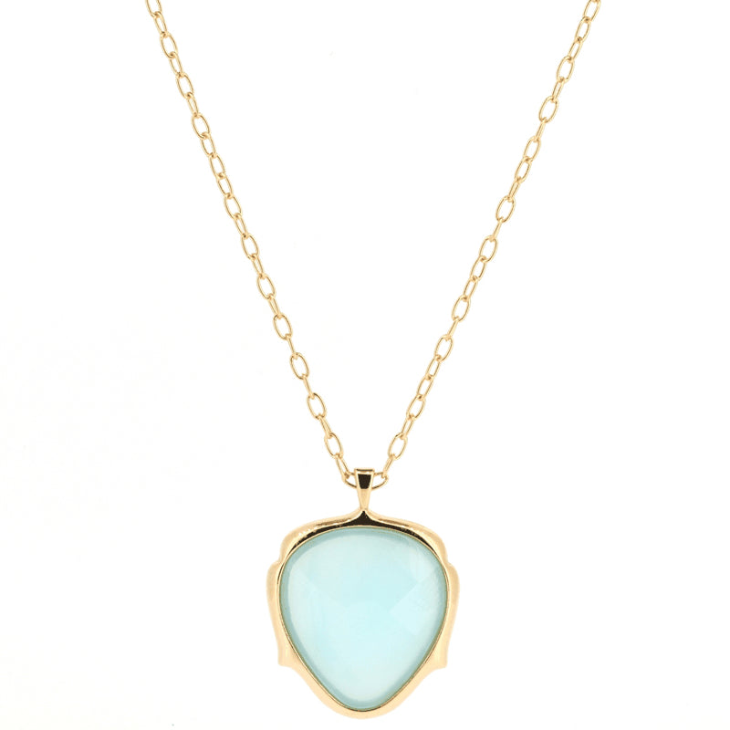 Blue Agate Pendant Necklace | Lady Shape