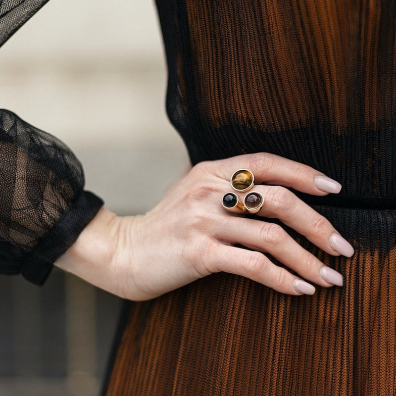 Bellina Caetano | Three Stone Ring | Tigers Eye, Smoky Quartz, Obsidian