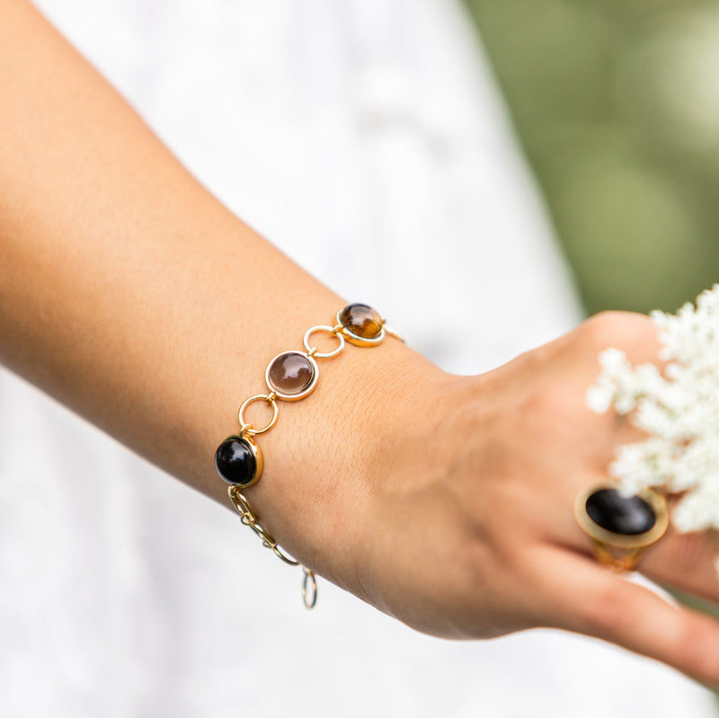 Bellina Caetano | Multi Gemstone Bracelet | Tigers Eye, Smoky Quartz, Obsidian