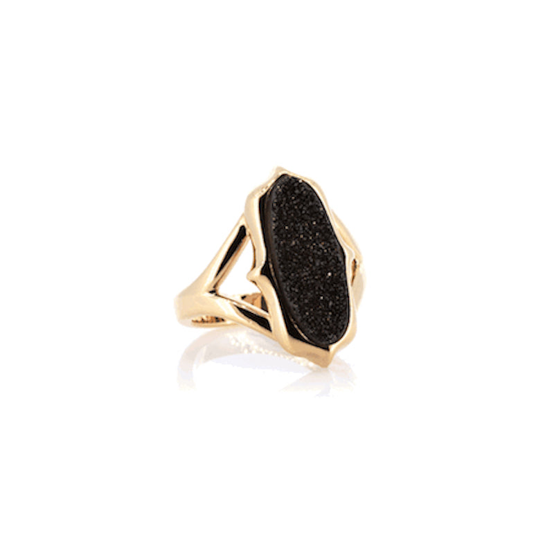 Black Druzy Ring | Gold | Lady Shape