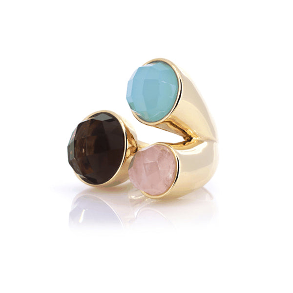 Multi Gemstone Ring | Smoky Quartz, Blue Agate, Rose Quartz