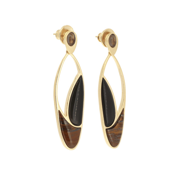Statement Earrings | Tigers Eye, Smoky Quartz, Obsidian