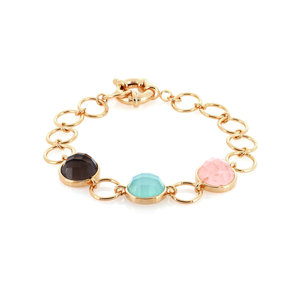 Multi Gemstone Bracelet | Rose Quartz, Blue Agate, Smoky Quartz