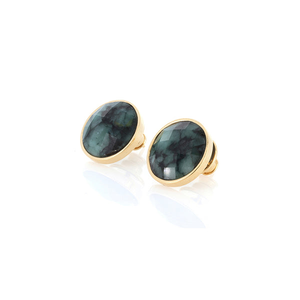 Raw Emerald Big Stud Earrings