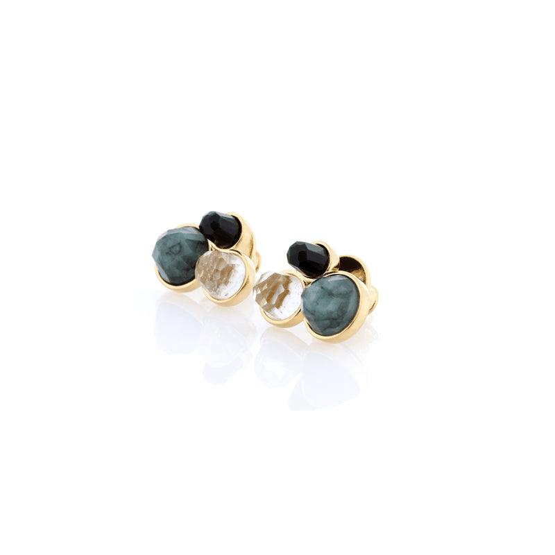 Three Stone Earrings | Raw Emerald, Green Amethyst, Obsidian