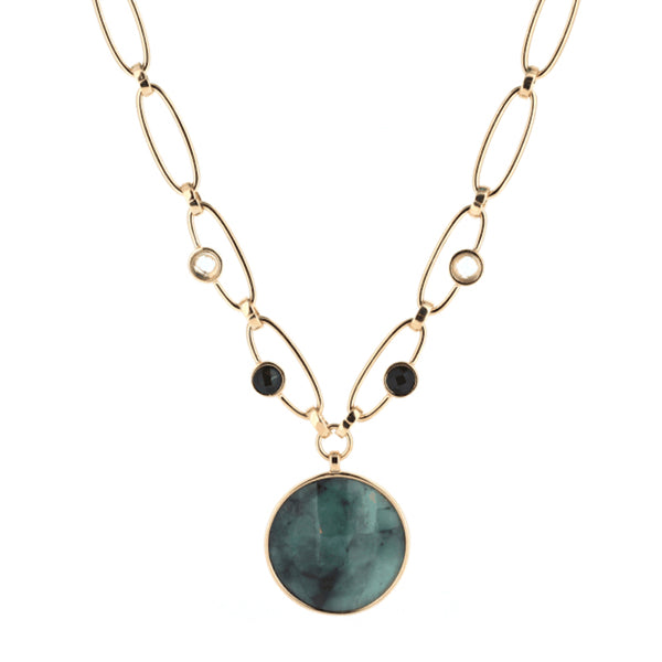 Statement Necklace | Raw Emerald, Green Amethyst, Obsidian