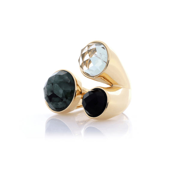 Statement Ring | Raw Emerald, Green Amethyst, Obsidian