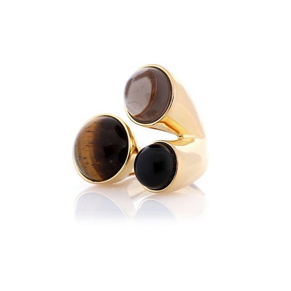 Three Stone Ring | Tigers Eye, Smoky Quartz, Obsidian