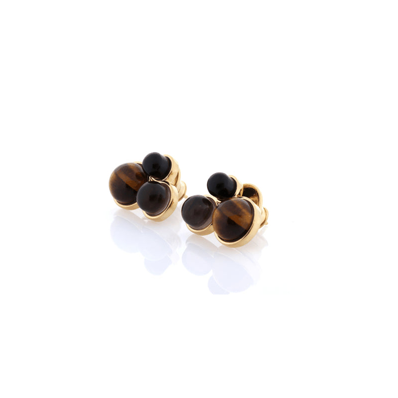 Three Stone Earrings Tigers Eye