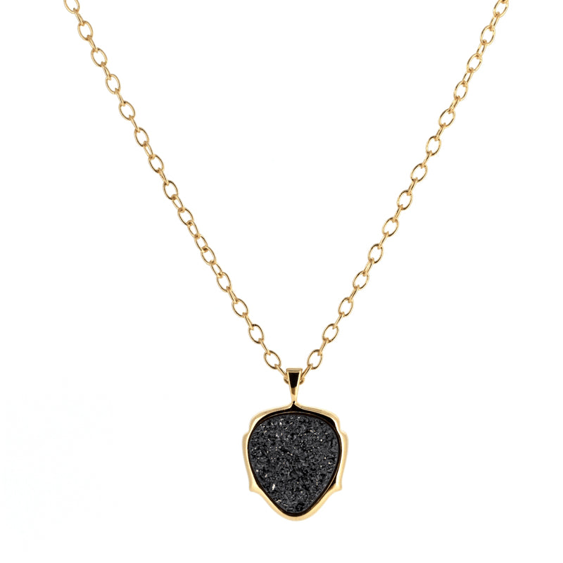 Black Druzy Necklace | Gold | Lady Shape