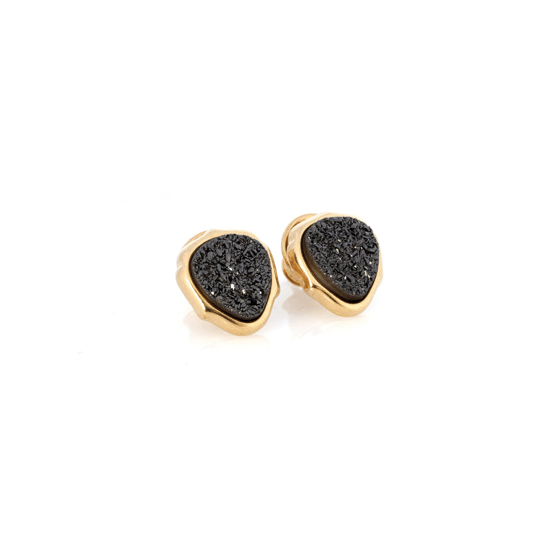 Black Druzy Earrings | Gold | Lady Shape