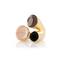 Three Stone Ring | Rose Quartz, Smoky Quartz, Obsidian