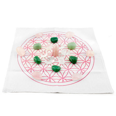 love and harmony crystal grid kit set up