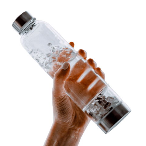 hand holiding a crystal water bottle
