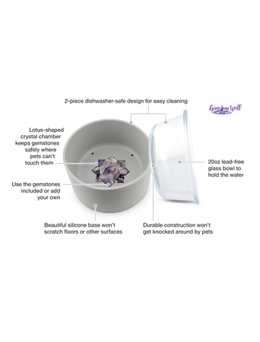 Crystal Elixir Pet Bowl Set - Relieve Your Pets Anxiety