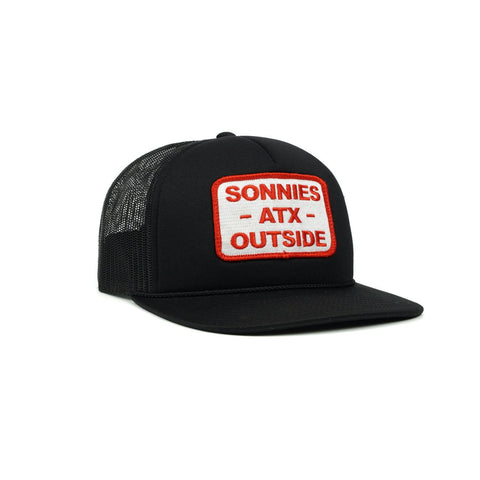 Sonnies Outside - Black Snapback Trucker Hat Cap Austin Texas