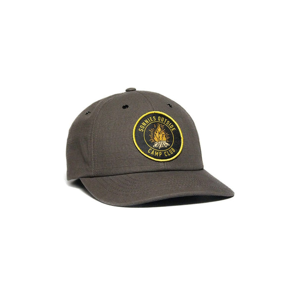 Sonnies Outside Gray and Yellow Camping Baseball Hat