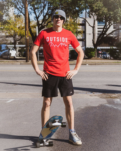 Sonnies Outside Hiking Clothes - Mens Outside Red T-Shirt Model View