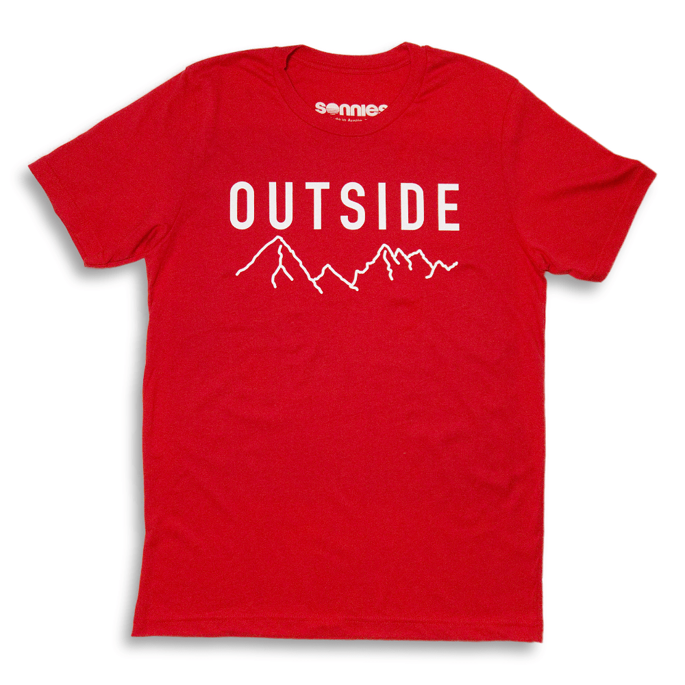 Sonnies Outside Hiking Clothes - Mens Outside Red T-Shirt