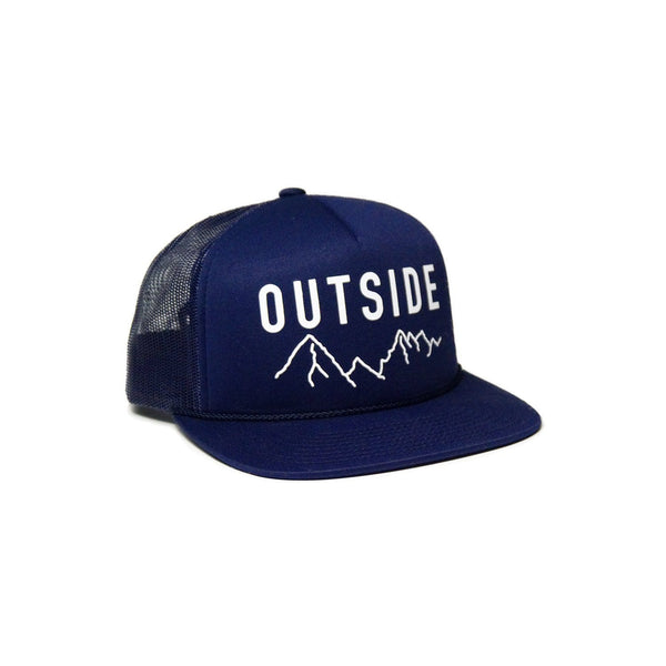 Sonnies Outside Hiking Clothes - Navy Blue Snapback Trucker Hat Outside