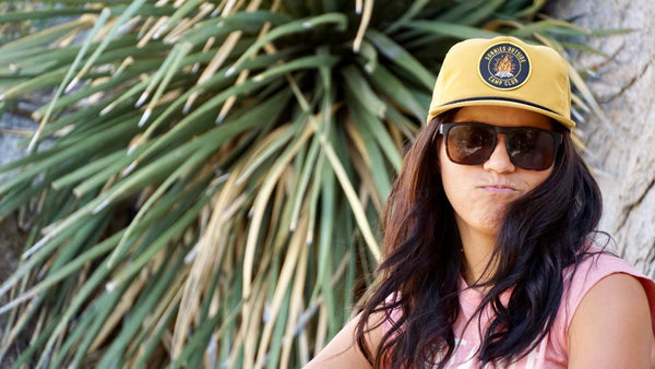 Sonnies Outside Yellow Snapback Roper Hat Cap Woman Model