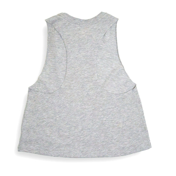 Sonnies Outside Womens Hiking Clothes -  80s Gray Tank Top Back View