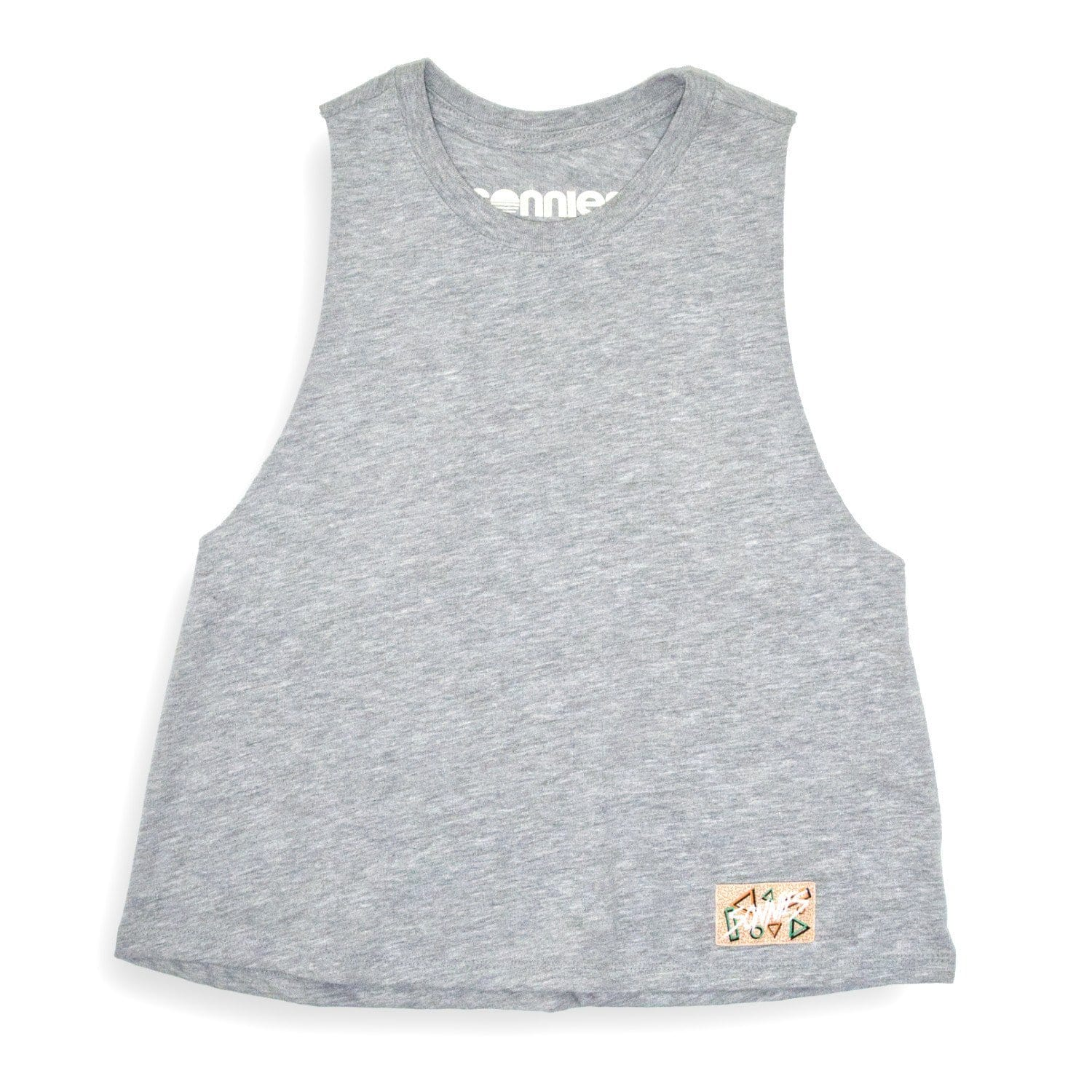 Sonnies Outside Womens Hiking Clothes -  80s Gray Tank Top