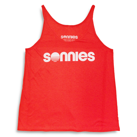 Sonnies Outside Hiking Clothes - Womens Slouchy Red Tank Top