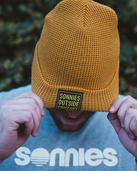 Sonnies Outside Camping Clothes - Yellow Beanie Boggin Cap Model View